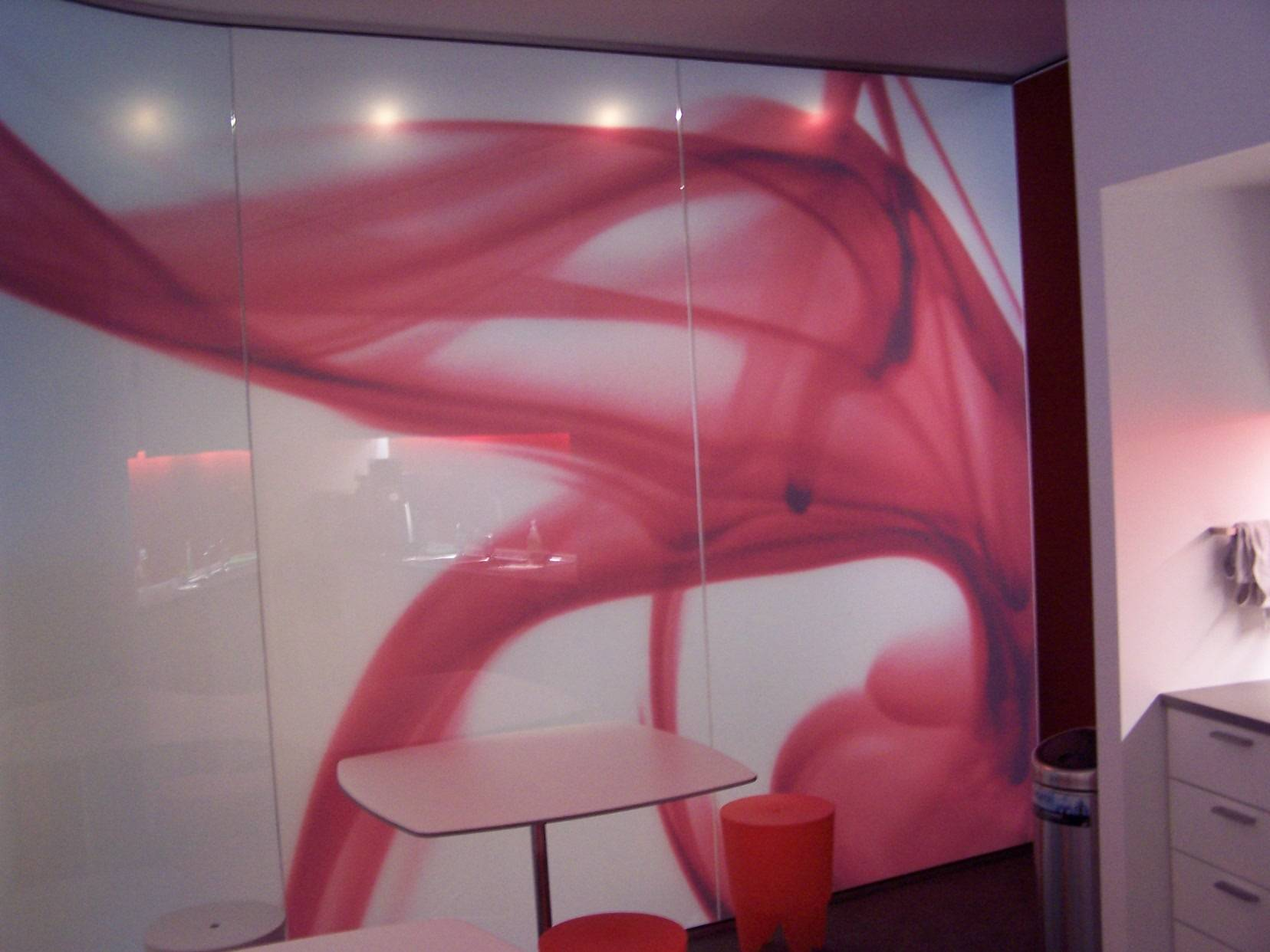Digital print on frosted film for office partition