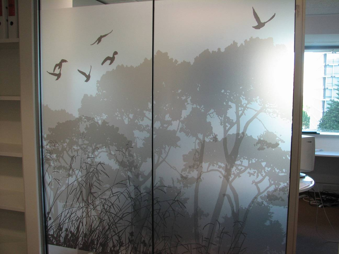 Grayscale Digital Print on 3M Frosted film for Office Partition