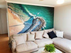 custom wallpaper on lounge room wall