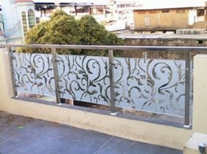 Frosted Glass Design with pattern for Balcony