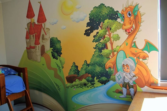 kids room feature wall